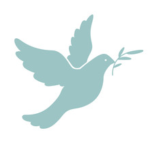 Blue Dove With Olive Branch