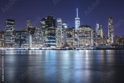 Fototapety, obrazy: Manhattan di notte vista da Brooklyn