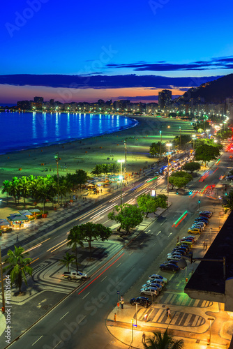 Sunset view of Copacabana beach and Avenida Atlantica in Rio de Janeiro, Brazil Canvas Print