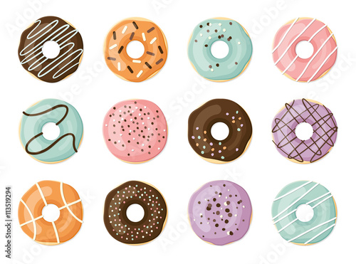 Photo  Sweet vector donuts set