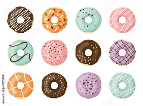 Canvas Print Sweet vector donuts set