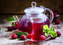 Summer Raspberry Tea With Mint In A Glass, Vintage Wooden Backgr
