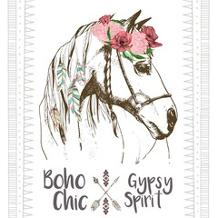 Panel Szklany Boho Vector fashion boho chick style horse with flower, feather wreath and arrow. Traditional bohemian deoration. Use for poster, party, fashion, events, promotion, shop, store, design.
