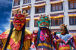 Leinwanddruck Bild - Buddhist monks dancing Cham mystery in Lamayuru, India
