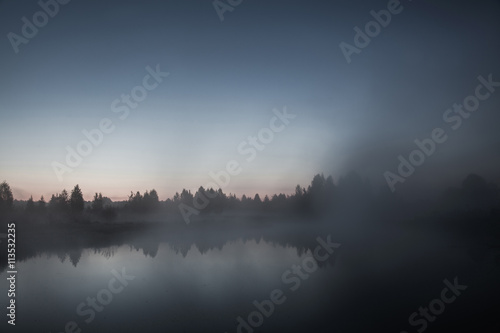 Poster Morning with fog mist over the lake, dusk over the lake, a very dense fog, dawn