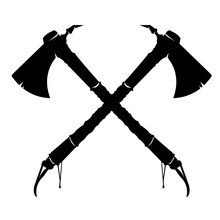 Vector Illustration Of Two Crossed American Indian Tomahawk Axes.  Crossed Axes Weapon Silhouette War Icon.