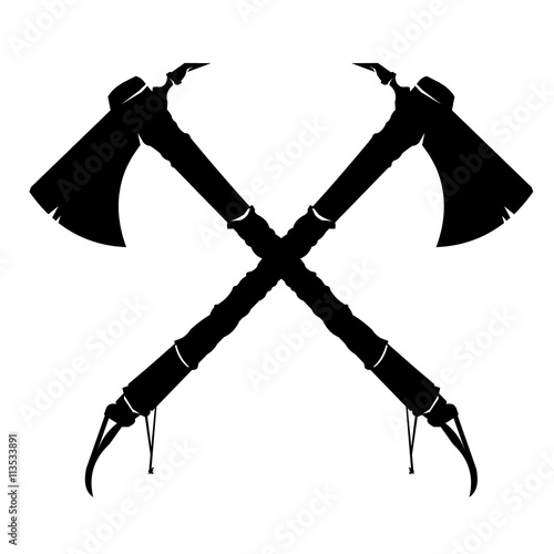 Vector illustration of two crossed American Indian Tomahawk