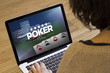 woman computer online poker