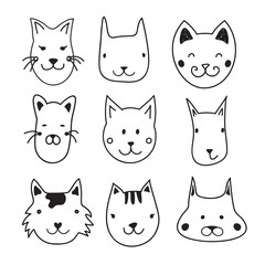 Cute vector set with doodle ink cats heads