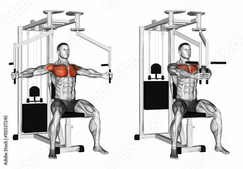 Reduction of arms simulator butterfly. Exercising for bodybuilding. Target muscles are marked in red. Initial and final steps. 3D illustration