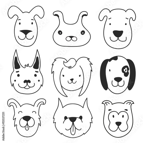 Papiers peints Cartoon draw Cute vector set with doodle ink style dog heads