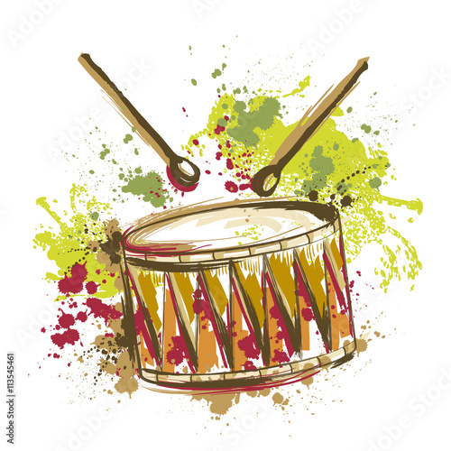 Drum with splashes in watercolor style Tableau sur Toile