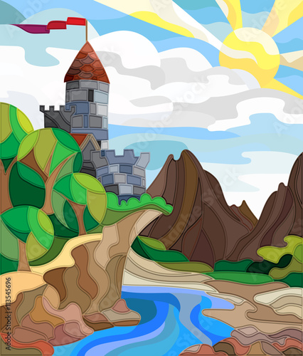 Staande foto Kasteel Illustration in stained glass style landscape with old castle on the background of sky, sun, river and mountains