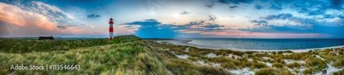 Poster Panoramafoto s Sylt am Strand Panorama Abendstimmung am Leuchtturm