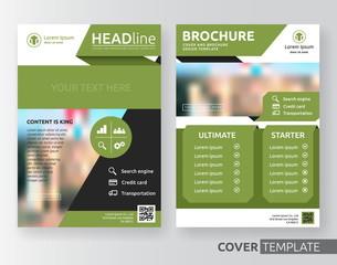 Abstract cover design suitable for flyer, brochure, book cover and annual report. Green, black and white color A4 size template background with bleed. Vector illustration