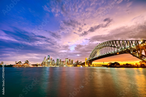 Panorama of Sydney Harbour at sunset © Javen