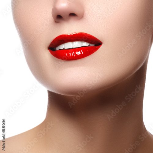 Valokuva  Perfect smile with white healthy teeth and red lips, dental care