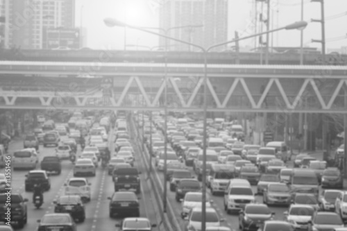blurred traffic jam with smog on  the road in bangkok , Thailand Poster