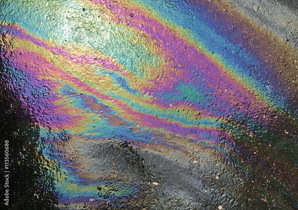 Fototapety, obrazy: Oil spill pattern on asphalt