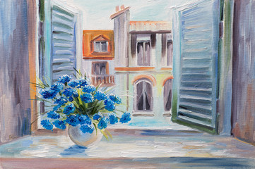 Obraz oil painting. flowers in the balcony, beautiful rooftops in summer, colorful watercolour