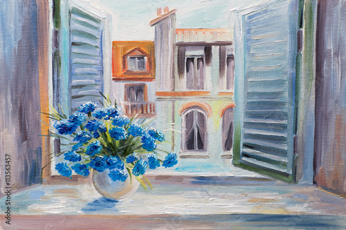 oil painting. flowers in the balcony, beautiful rooftops in summer, colorful watercolour - 113563457