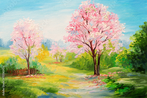 Poster Rose clair / pale oil painting, colorful forest, сherry blossoms, art watercolour