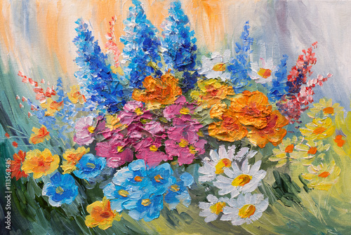 Obraz Kolorowe wiosenne kwiaty - obraz olejny - fototapety do salonu
