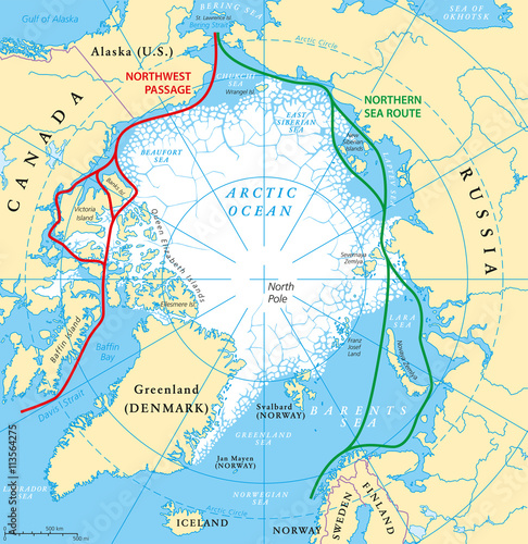 Arctic Ocean map with North Pole and Arctic Circle. Arctic ...