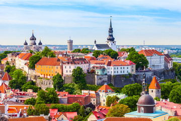 View from tower of Saint Olaf Church on old city of Tallinn and