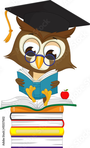 Photo Stands Owls cartoon wise owl reading a book while sitting on a pile of books