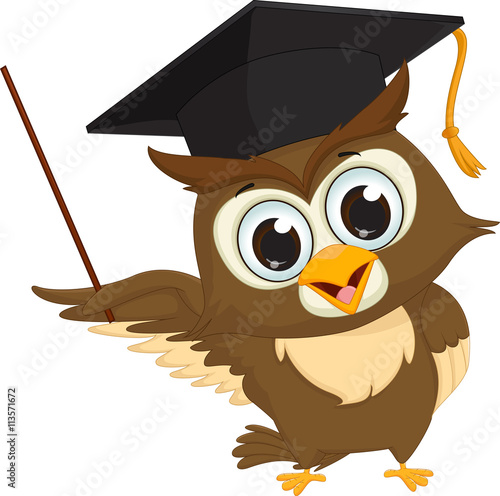 In de dag Uilen cartoon cartoon wise owl with pointer giving educational presentations