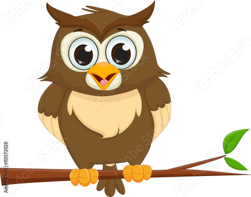Tuinposter Uilen cartoon cute cartoon owl sitting on a tree branch