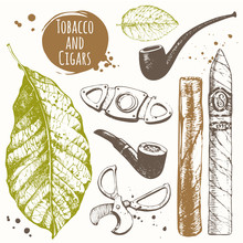 Smoking Set. Tobacco And Cigars In Sketch Style.