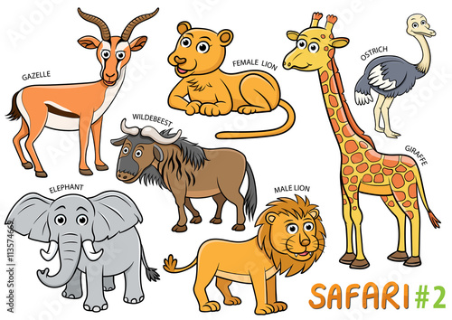 Photo  Set of Cute cartoon Animals and in the safari areas