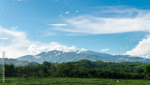 Foto op Aluminium Blauw landscape of nature mountains with blue sky in the outdoor