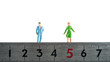 定規と男女,距離