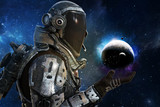 Exploration, A futuristic astronauts exploration of the galaxy concept. 3d rendering - 113580408