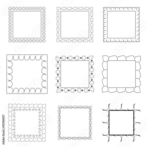 Set of ornate black picture frames isolated on white,free hand ...