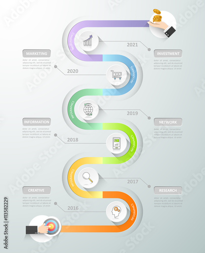 Photo  Design timeline infographic template. Business concept 6 options