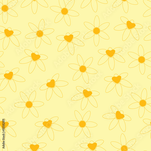 Background Simple Flowers Yellow Background Cartoon Flowers