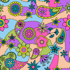 Flowers and paisley pattern colorful