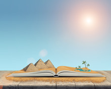 Sketch Of The Pyramids And Oasis In The Desert Over Open Book.