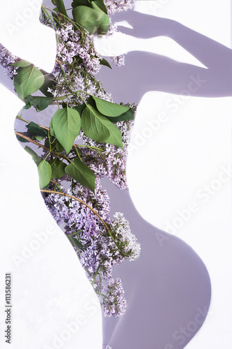 Poster Akt floral woman.silhouette of girl