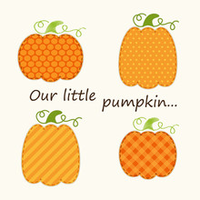 Retro Fabric Applique Of Cute Pumpkins In Shabby Chic Style