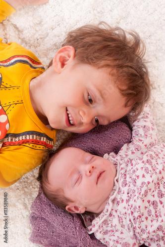 Fotografie, Obraz  enfants frère et soeur