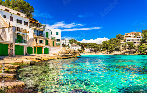 Mediterranean Sea Spain Seaside Cala Santanyi Majorca Balearic Islands Canvas Print