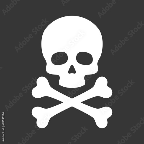 Fotografía  Skull with Crossbones Icon on Black Background. Vector
