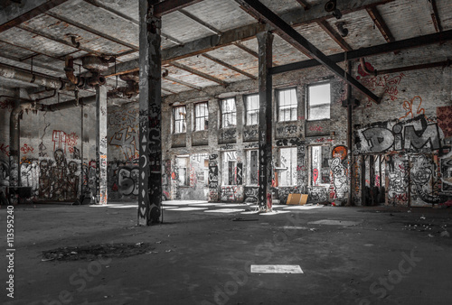 abandoned warehouse interior  , old building ruin