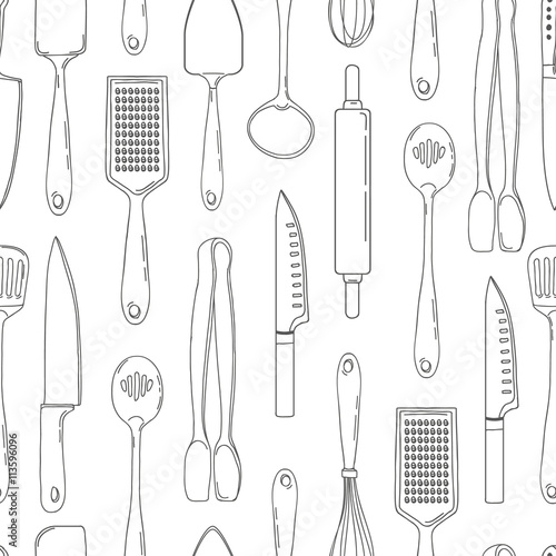 Seamless Background With A Pattern Of Outline Cutlery