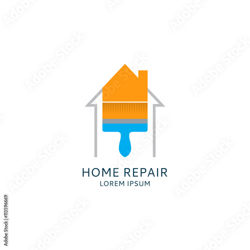 home repair logo template house icon painting service logotype
